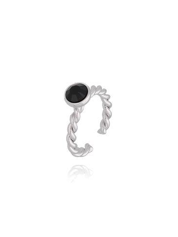 Pierścionek srebrny z czarnymi kryształkami PRG0149 rozmiar 12