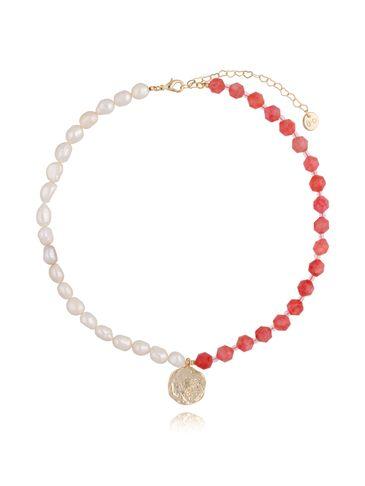 Naszyjnik czerwony z perłami NPA0098
