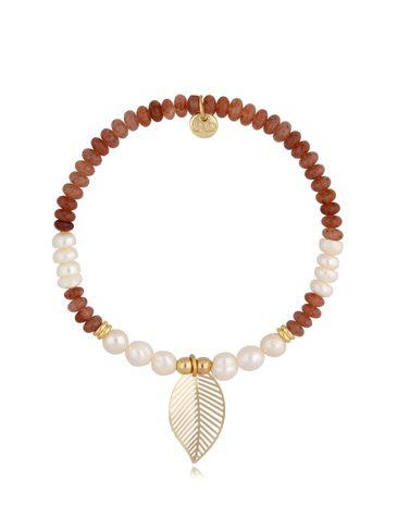 Bransoletka z perłami i awenturynem Gold Leaf BSC0928