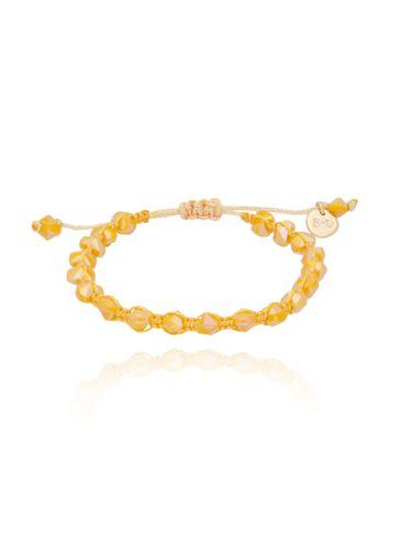 Bransoletka pleciona z mlecznymi żółtymi kryształkami BBL0113