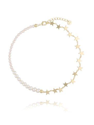 Naszyjnik złoty z gwiazdkami i perłami NRG0212