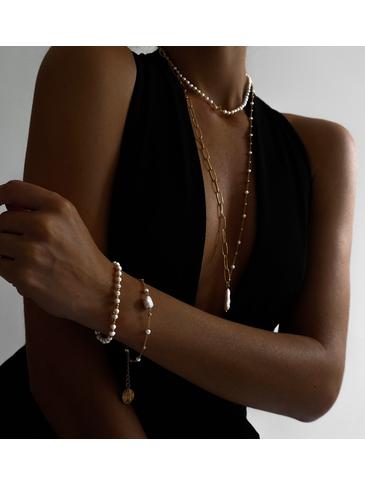 Naszyjnik złoty łańcuch  z perłą NPE0033