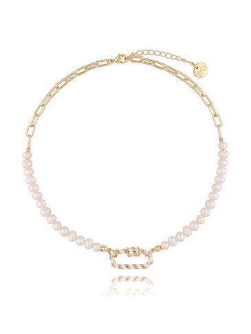 Naszyjnik złoty łańcuch z perłami NSL0008