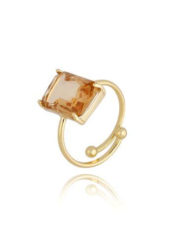 Pierścionek złoty z dymionym kryształowym oczkiem PTO0008