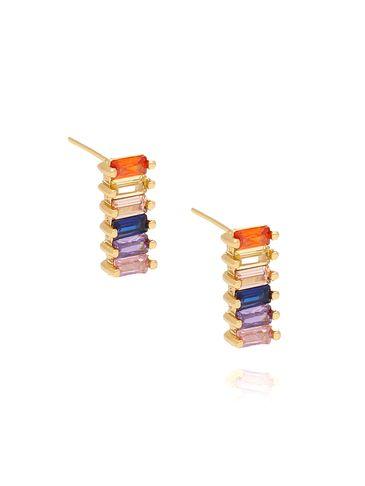Kolczyki  wkrętki prostokąty z kolorowymi cyrkoniami KCO0029