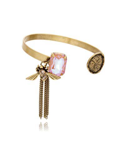 Bransoletka złota obręcz z owadem i kryształem BMI0024