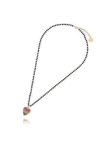 Naszyjnik ze szklanymi kryształkami i tęczowym sercem NMU0018