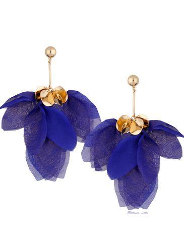 Kolczyki jedwabne kwiaty granatowe KBL0783