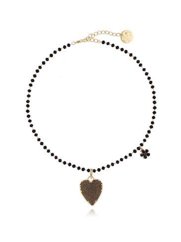 Naszyjnik ze szklanymi kryształkami i czarnym sercem NMU0007