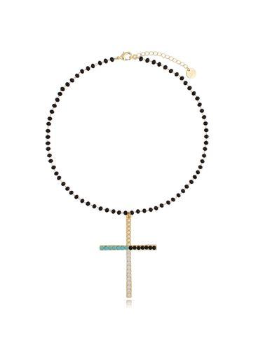Naszyjnik złoty łańcuch z krzyżem NRG0333