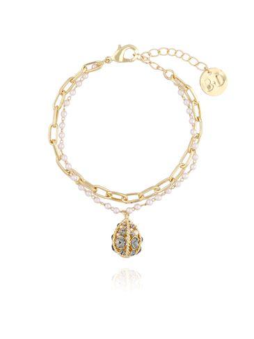 """Bransoletka złota z perłowym """"jajkiem Faberge"""" i łańcuchem BRG0101"""