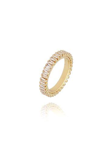 Pierścionek złoty z transparentnymi kryształkami PRG0134 rozmiar 15