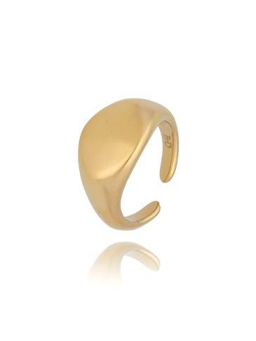 Pierścionek pozłacany matowy ze stali szlachetnej PSA0168