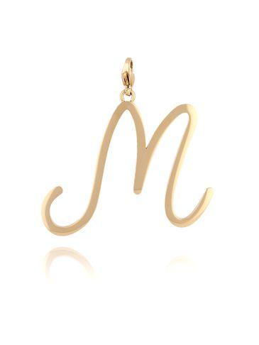 Zawieszka ze stali szlachetnej złota literka M Alphabet NAT0058