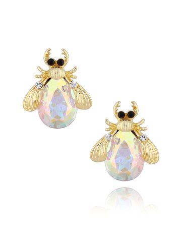 Kolczyki złote żuki z białymi kryształkami KMI0129