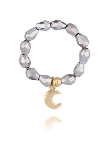 Pierścionek elastyczny z hematytem i księżycem PSC0142