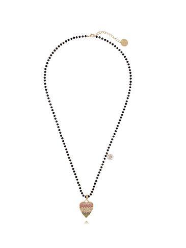 Naszyjnik ze szklanymi kryształkami i tęczowym sercem NMU0003