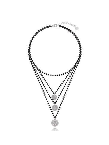 Naszyjnik  z czarnymi kryształkami i monetkami NRG0289