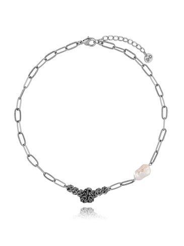 Naszyjnik z pereł z łańcuszkiem antyczne srebro NPE0044