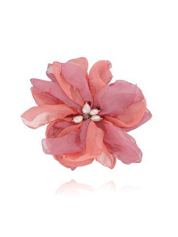 Broszka / spinka kwiat z perełkami różowa BRBL0018