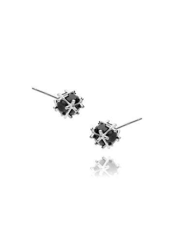 Kolczyki srebrne kulki z czarnymi kryształkami KGM0061