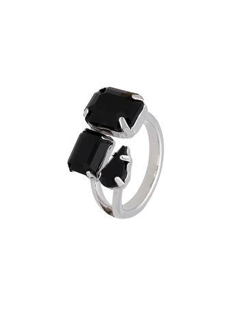 Pierścionek srebrny z czarnymi kryształami PRG0093 rozmiar12