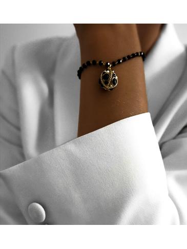 """Bransoletka złota z czarnymi kryształkami i """"jajkiem Faberge"""" BRG0105"""