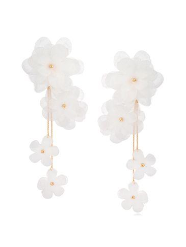 Kolczyki jedwabne kwiaty białe KBL0710