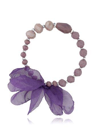 Bransoletka fioletowo szara z kryształków - jedwabny kwiat BBL0217