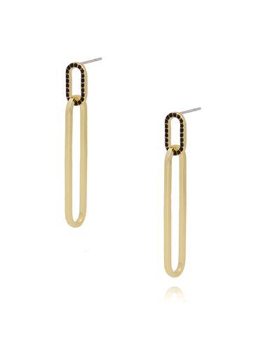 Kolczyki złote z czarnymi kryształkami KRG0604