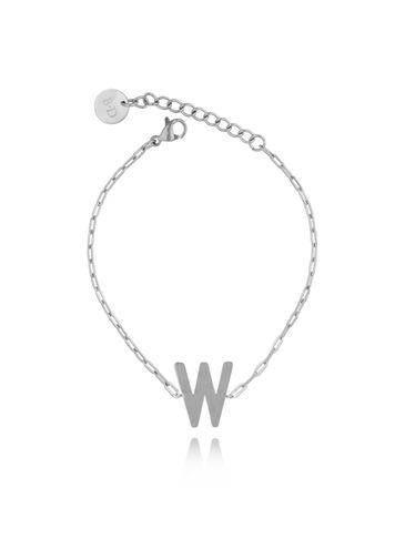 Bransoletka srebrna z literką W BAT0097
