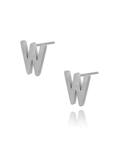 Kolczyki wkrętki srebrne z literką W KAT0056
