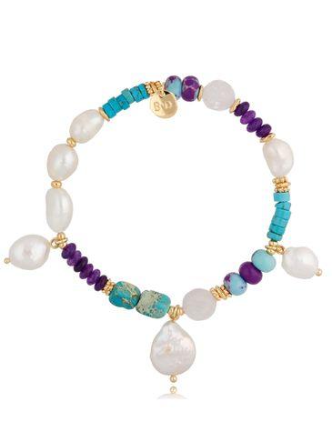 Bransoletka kolorowa z perłami i kamieniami Tropical BPA0084