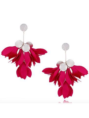 Kolczyki satynowe kwiaty fuksjowe KBL0440
