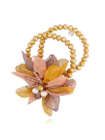 Bransoletka z kryształkami i  musztardowym kwiatem  BBL0128