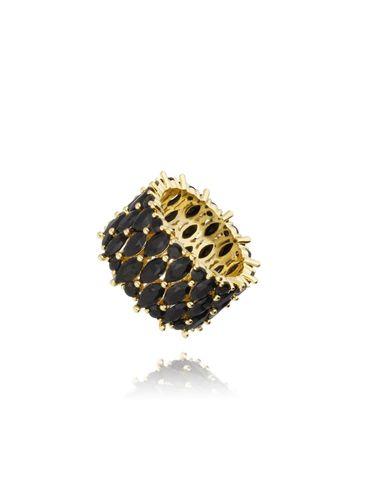 Pierścionek złoty z czarnymi kryształkami PRG0125 rozmiar 9