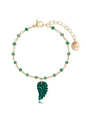 Bransoletka łańcuszkowa zielona z zawieszką skrzydełko Tropical Bird BPA0091