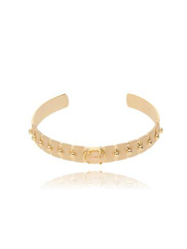 Bransoletka złota obręcz z koralikiem i waniliową nicią BNE0001