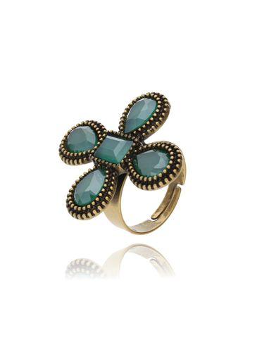 Pierścionek kryształowy kwiat-zielony PU0003