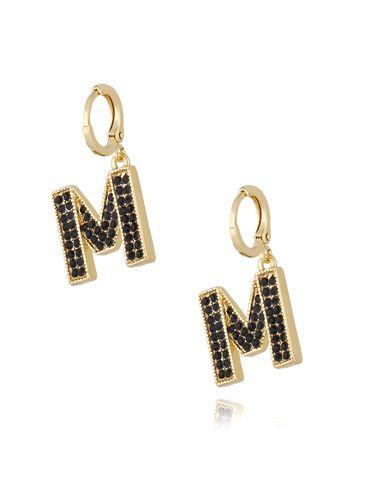 Kolczyki złote z kryształkami literka M KRG0580