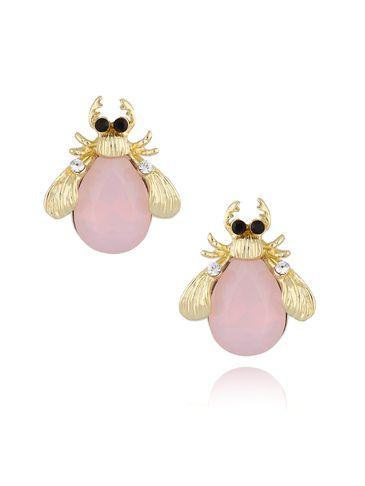 Kolczyki złote żuki z różowymi kryształkami KMI0125