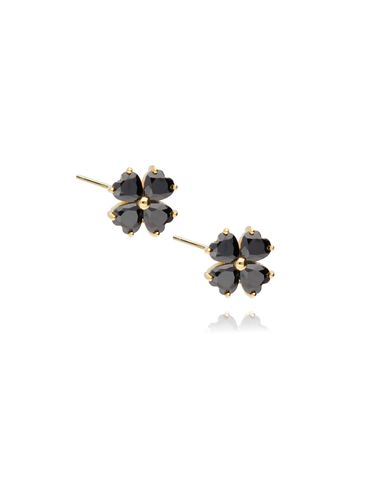 Kolczyki srebrne pozłacane kwiatki z czarnymi kryształkami KGM0115