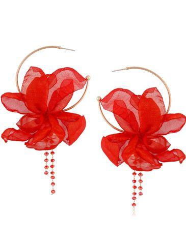 Kolczyki jedwabne kwiaty mocna czerwień KBL0818