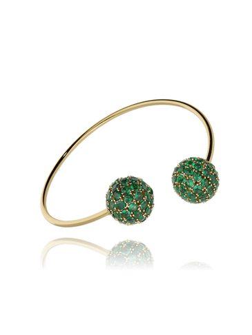 Bransoletka złota obręcz z zielonymi kryształkami BRG0093