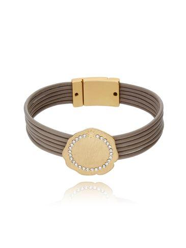 Bransoletka beżowa na skórzanych paskach -  złota tarcza z cyrkoniami BLD0014