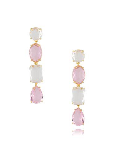 Kolczyki różowo kryształowe KTO0014