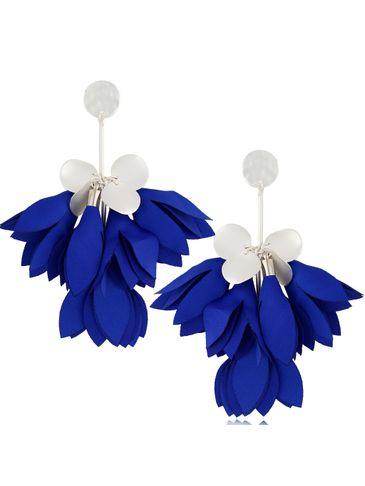 Kolczyki satynowe kwiaty chabrowe KBL0525