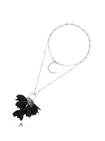 Naszyjnik srebrny z kwiatem czarny NBL0026