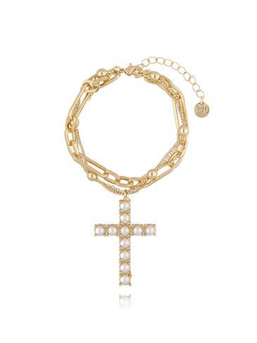 Bransoletka złota z łańcuchem i krzyżem BRG0130