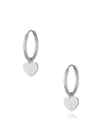 Kolczyki kółka posrebrzane ze stali szlachetnej Silver Hearts KSA0290